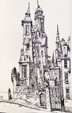 Photos and videos by Ian McQue ( Line Drawing, Drawing Sketches, Art Drawings, Black And White Sketches, Black And White Illustration, Norman Rockwell, Tracing Art, Shetland, Building Drawing