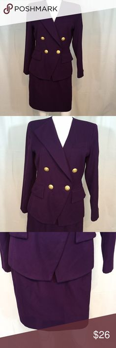 Kaspers A.S.L. Two piece suit Double breasted purple jacket and skirt Dresses Mini