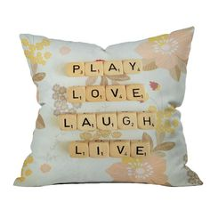 Happee Monkee Play Love Laugh Live Pillow