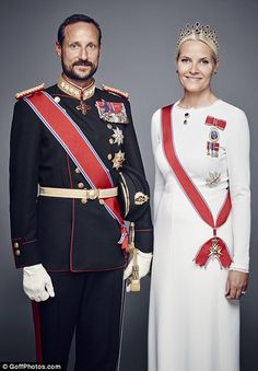 Queen Sonja and her husband King Harald, pictured left, and Crown Prince Haakon and  Crown Princess Mette-Marit, right, posed for a number of official portraits