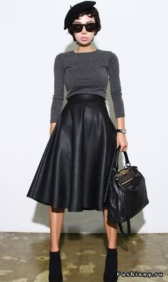 Leather aline skirt