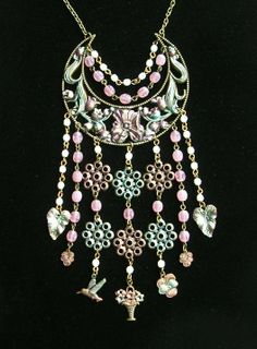 Vintage Pink White Glass Beads Floral Bib Necklace Charms Bird Pansies