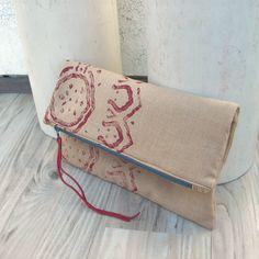 Fold+Over+Bag+Hand+Printed+Clutch+Linen+Bag+Rust+door+GypsyIntent,+$45,00