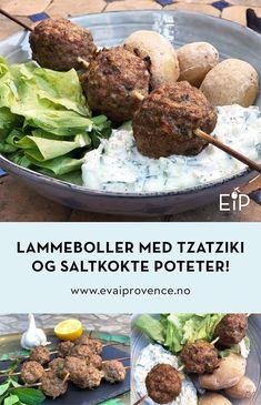 LAMMEBOLLER PÅ SPYD MED TZATZIKI OG SALTKOKTE POTETER! Moussaka, Tzatziki, Bon Appetit, Nom Nom, Beef, Meat, Steak