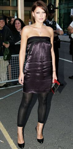 Pin for Later: No Wonder Big Brother's Emma Willis Is the Celeb Mum We All Want to Look Like Emma Willis This double-whammy of creased satin and footless tights is probably best left in 2006.