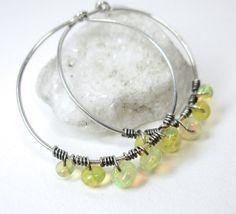 SALE Opal Earrings Sterling Silver Hoop Earrings by AnnaMJewelry, $29.92