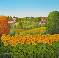Painting Sunflowers - Artist Cesare Marchesini