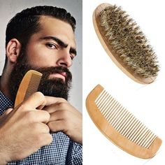 With Bag Men's Beard Brush & Comb Kit Boar Bristles Mustache Shaving Brush Bamboo Beard Comb Male Facial Hair Brush Set