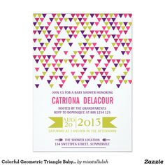 "Colorful Geometric Triangle Baby Shower Invitation 5"" X 7"" Invitation Card by another Zazzle designer"