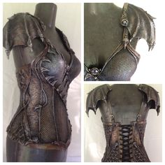 Dragon Rider corset just finished! This commission features a gorgeous variety of scaled textures, reptilian wing pauldrons, and many ornate hand sculpted details.