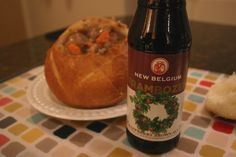 Frambozen Beef Stew - a beef stew with carrots, potatoes, onions, rosemary, nutmeg and Frambozen: a raspberry brown ale from New Belgium Brewing