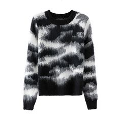 Black Laides Crew Neck Camouflage Patterned Pullover Sweater ($31) ❤ liked on Polyvore featuring tops, sweaters, crew-neck tops, camo pullover, camo print top, crewneck sweaters and crew top