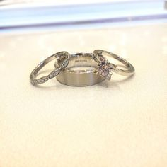 #Tacori engagement ring and wedding band with a #Diana band.