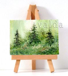 Pinetrees In The field 3x4 original miniature oil by valdasfineart