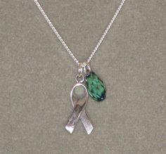 Addiction Teal Awareness Ribbon Necklace and by BlackCatDesign, $35.00