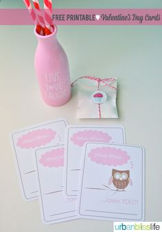 Whoo Loves You Free Printable Valentine's Day Cards | UrbanBlissLife