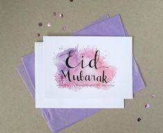 Printable Eid Mubarak Card Purple Watercolour English Happy   Etsy