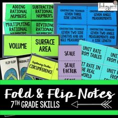 7th Grade Math Foldable Style Notes.  Bring some color, fun and creativity to your 7th Grade Math notes by using foldables and graphic organizers! Great for Interactive Notebooks!  Currently, there are 13 foldable style notes included. This is a GROWING resource. As I add more units to my 7th Grade Curriculum, they will be added here as well.