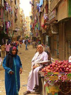 Laundry in the street in (Ezbet Al Nakhl  Egypt