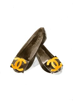 Chanel flat shoes Watercolor illustration by MilkFoam on Etsy, $35.00