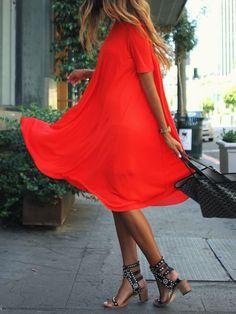 Kleid Kurzarm Rundhals-rot 13.66