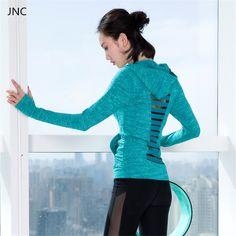 女性シックなロングスリーブパーカー中空アウト無地グレースポーツユニフォームソフトランニングシャツブルーyogaトップワークアウトの服