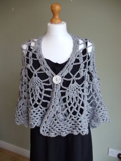 Evening shawl with button in grey/gray by TySiriolCeramics on Etsy, £40.00