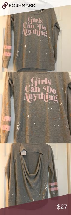 NWT Chaser Girls Can Open Back Sweater Small Girls can!!!! Cute little sweater from Chaser. Gray with splatter/stripes on one sleeve. Open back is my favorite part! Brand new! Small. Chaser Sweaters Crew & Scoop Necks