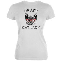Crazy Cat Lady With Glasses White Soft Juniors T-Shirt - X-Large, Women's