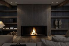 20 Of The Most Amazing Modern Fireplace Ideas interior corrugated material is cool. also having an enormous fireplace with center wood looks surprisingly nice. Linear Fireplace, Home Fireplace, Fireplace Surrounds, Fireplace Ideas, Fireplace Mantels, Wood Mantle, Fireplace Modern, Fireplace Screens, Minimalist Fireplace