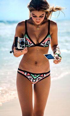Mixed Color Graphic Geometric Bikini Sets