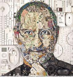 A qualcuno é sembrata il modo giusto per immortalare l'uomo la cui società ha prodotto migliaia di tonnellate di rifiuti elettrici ed elettronici. Stiamo parlando dell'artista di San Francisco Jason Mecier che ha realiizato questo stupefacente ritratto / collage utilizzando 9 chilogrammi di rifiuto come telefonini, chiavette di memoria, schede e altro ancora.