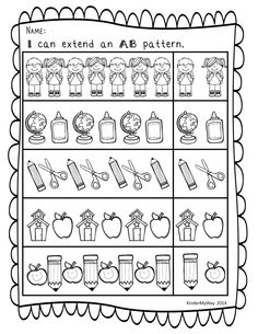 Back to School: Math and Literacy Printables Ready To Use The first couple weeks of school are always hectic. Save yourself some time with these simple but fun worksheets for the kids! The worksheets include many skills for the Kinders to practice