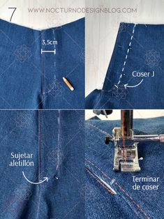Cómo coser la cremallera para jean – Nocturno Design Blog Sewing Collars, Pants Tutorial, Sewing Shorts, Sewing Clothes Women, Paper Bag Shorts, Sewing Lessons, Design Blog, Chor, Dress Sewing Patterns