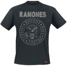 Ramones - Seal Hey Ho heren unisex T-shirt met rug print zwart Rock T Shirts, Band Shirts, Vintage Stil, Style Vintage, Rocket To Russia, Ramones T Shirt, Hey Ho Lets Go, Mode Alternative, Beau T-shirt