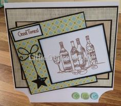 Designed by Helen H Good Times, Cardmaking, Stampin Up, Card Ideas, Men's Cards, Frame, Stamps, Inspiration, Drinks