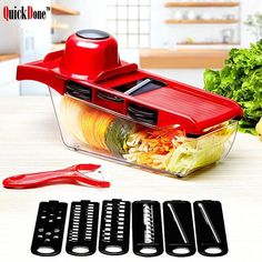 Buy Vegetable Cutter With Steel Blade Mandoline Slicer Potato Peeler Carrot Cheese Grater Vegetable Slicer Kitchen Accessories Tool at www. Kitchen Tools, Kitchen Gadgets, Cooking Gadgets, Kitchen Products, Kitchen Things, Kitchen Stuff, Kitchen Hacks, Kitchen Dining, Veggies