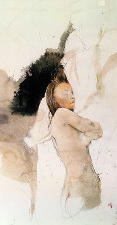 Andrew Wyeth watercolour, detail. Andrew Wyeth Paintings, Andrew Wyeth Art, Jamie Wyeth, Anime Comics, Life Drawing, Figure Painting, Watercolours, Portrait Art, Contemporary Paintings