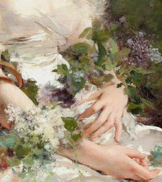 """the-garden-of-delights: """"""""Young Woman with Flower Basket"""" (detail) by Charles Chaplin """" Renaissance Paintings, Renaissance Art, Aesthetic Painting, Aesthetic Art, Old Paintings, Classic Paintings, Classical Art, Jolie Photo, Renoir"""