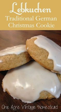 Lebkuchen is a soft gingerbread cookie frosted with sweet & tangy lemon frosting. You can find these cookies hanging in every German bakery at Christmas.