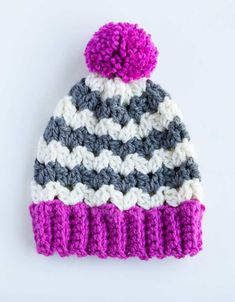 Crochet Color Pop Striped Beanie (with Breann!) - Sewrella