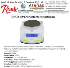 RHCB 1002 Portable Precision Balance. Capacity: 1000g x 0.01g Readability Sturdy ABS construction allows the balance to stand up to demanding laboratory use that provides fast and accurate weighing in a number of different environments.  For any Further information please  Contact: +27 (11) 615-7068/88 JHB or +27 (12) 327-7312/4 PTA E-mail: loadcell.manufacturing@gmail.com  #instrumentation #scales #sales #installations #calibration #industry #laboratory #suppliers #milligram Weighing Scale, Pta, Construction, Number, Building, Scale, Libra