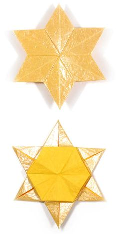 How to make a 2D six-pointed origami star (http://www.origami-make.org/origami-star-2d-six-pointed.php)