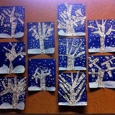 Winter is gray, winter is blue, had had ♪ ♪ ♫ – Les cahiers de – Winter Art Club Projects, Winter Art Projects, Winter Project, Winter Crafts For Kids, Art For Kids, Kindergarten Christmas Crafts, Christmas Card Crafts, Christmas Art, Bunny Crafts
