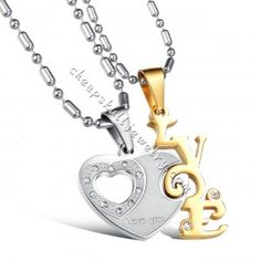 """a pair Stainless Steel """" Love You"""" Heart CZ Valentine's Couples Pendant for sale $18.89"""