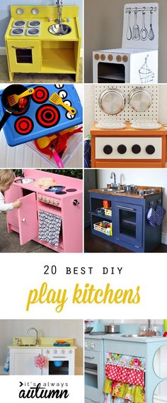Play kitchens are a great DIY Christmas gift! Learn how to build your own toy kitchen with these 20 best play kitchen tutorials. Click through for ideas and instructions to make an easy cardboard kitchen a custom wood kitchen kitchens made from thrifted Best Play Kitchen, Toy Kitchen, Kitchen Ideas, Kitchen Decor, Diy Kids Kitchen, Walmart Kitchen, Play Kitchen Wood, Ikea Kitchen, Kitchen Styling