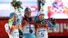 Marcel Hirscher of Austria (silver), Mario Matt of Austria (gold) and Henrik Kristoffersen of Norway (bronze) receive their respective medals upon placing in the alpine skiing men's slalom.