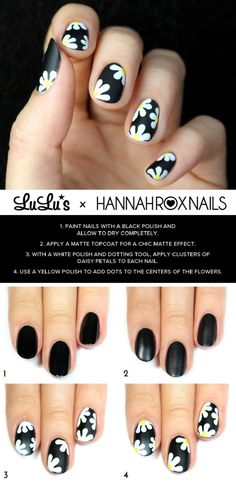 Black Daisy Nail Tutorial - 16 Trending Beauty Tutorials to Look for in 2015! | GleamItUp
