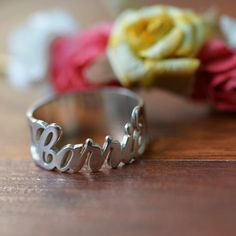 Personalized Sterling Silver Handwriting  Name Ring for Bridal or Bridemaid , Jewelry Gift for Her