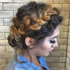 Messy Crown Braid Updo